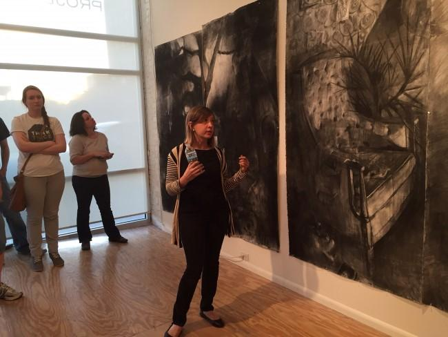 Melanie Johnson, the third artist, makes large-scale drawings.