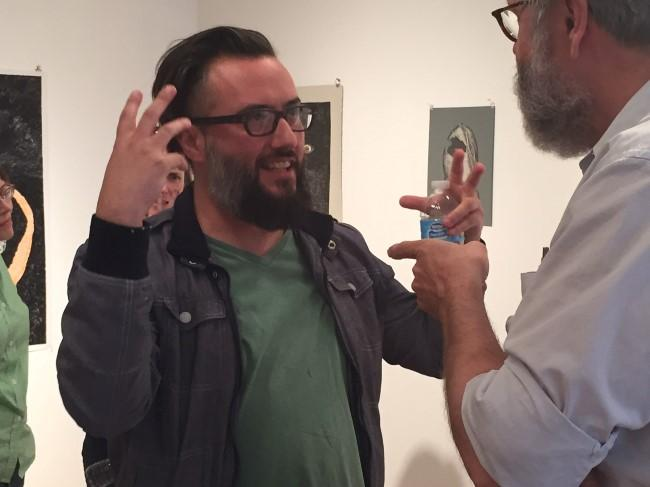Ricky Allman, a professor of painting and drawing at UMKC, was one of two guest moderators for the April critique night.