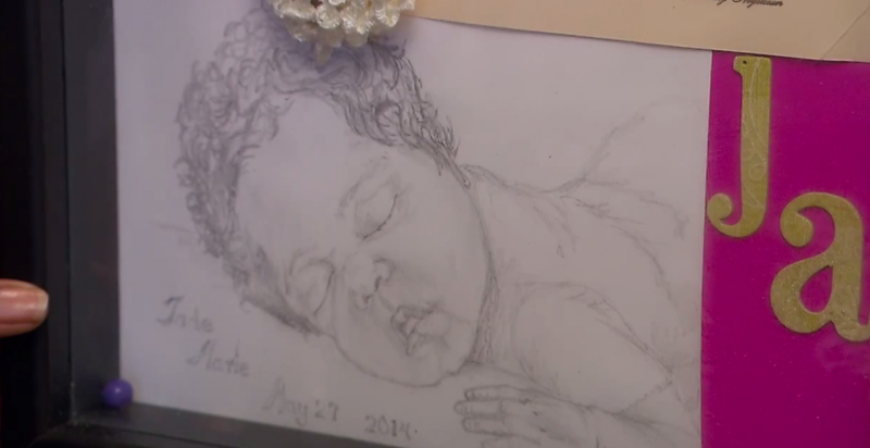 The hospital presented this sketch of Jade Marie Anderson to her parents after her stillbirth in May 2014. Her mother, Ashley Anderson, who lived in Kansas City, Kansas at the time of the birth, has the sketch in a glass-covered keepsake box.