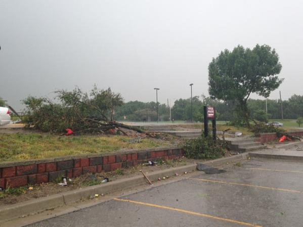 Trees at Lee's Summit North High School were downed by a storm system that passed through the metro Wednesday.
