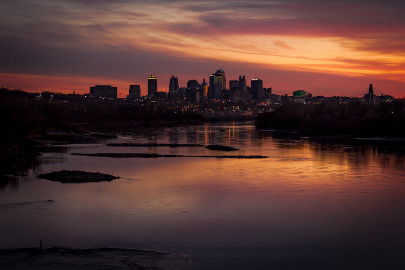 Kansas City rises up on the south side of the Missouri River.