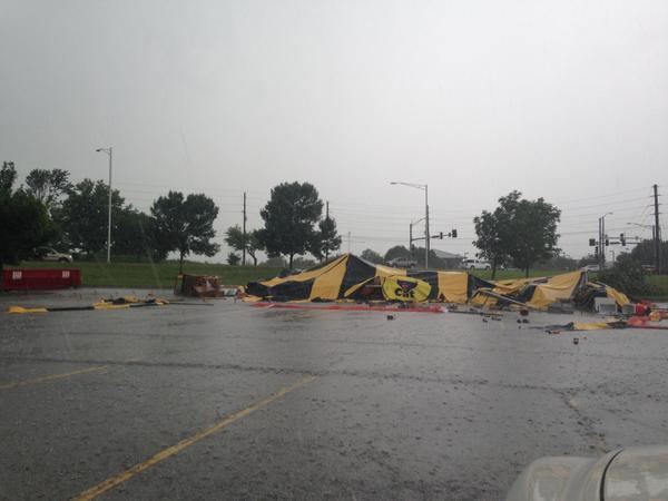 A fireworks tent sustained damage after a tornado briefly touched down in Lee's Summit Wednesday.