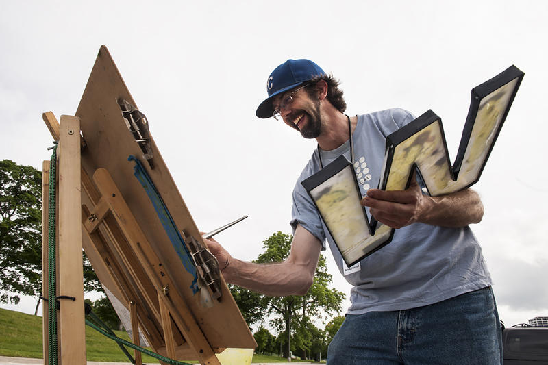 J.R. Hamil's son Alex competes in a plein air painting competition held near Liberty Memorial earlier this year.