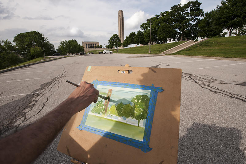 A watercolor of Liberty Memorial begins to come together for Alex as the afternoon winds down.