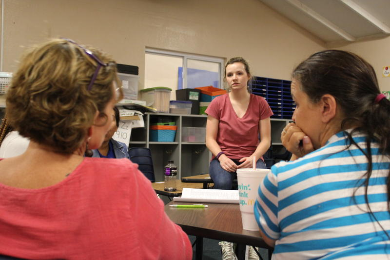 First-year teacher Rachel Foster gets advice from her veteran colleagues, including her mother Lisa.