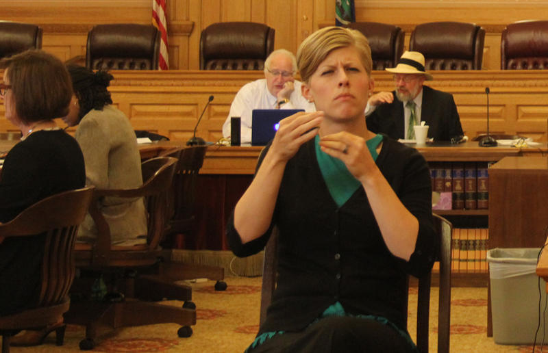 An American Sign Language (ASL) interpreter was available at the National Council on Disability forum last month in Topeka. Some advocates for deaf Kansans requested expanded Medicaid coverage for ASL therapy and training.