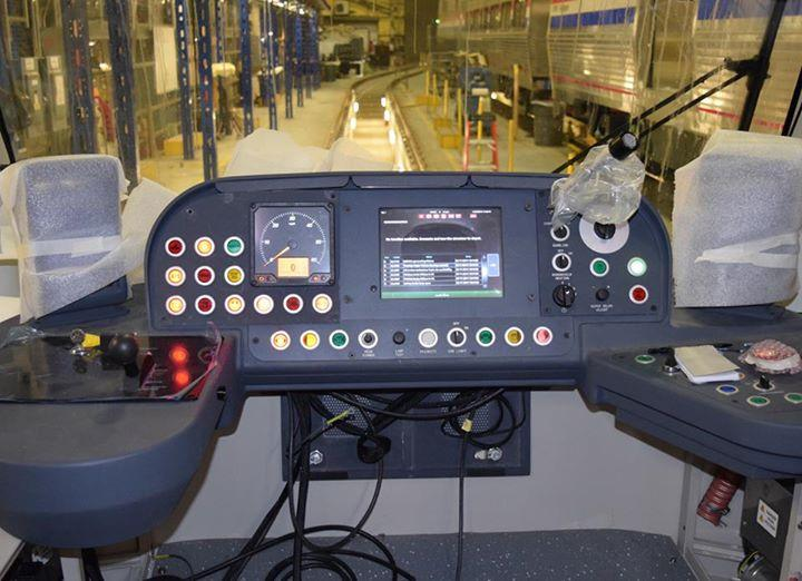 Operator's controls on the streetcar under construction