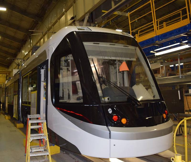 Partially completed Kansas City streetcar in Elmira, N.Y. assembly plant