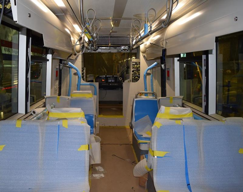 Unfinished streetcar interior