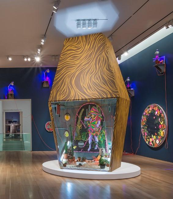 Fallah's 12-foot sculpture, in the center of the gallery, is inspired by JCCC journalism professor Mark Razuziner's collection of lava lamps.