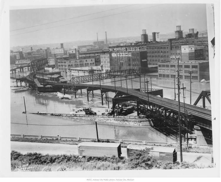 A distant view of the West Bottoms from the northwest after the 1951 flood.