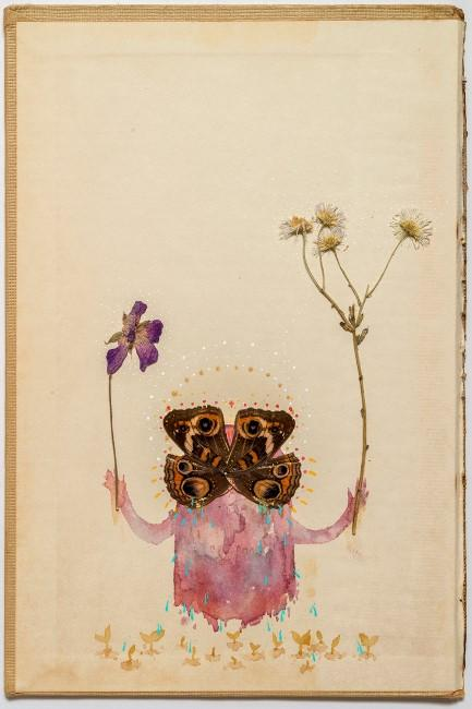 Rodolfo Marron III, Thank You For Your Love, 2015, Poke berries, bill berries, maiz morado, gouache, ink, pressed flowers and buckeye butterfly on book cover.
