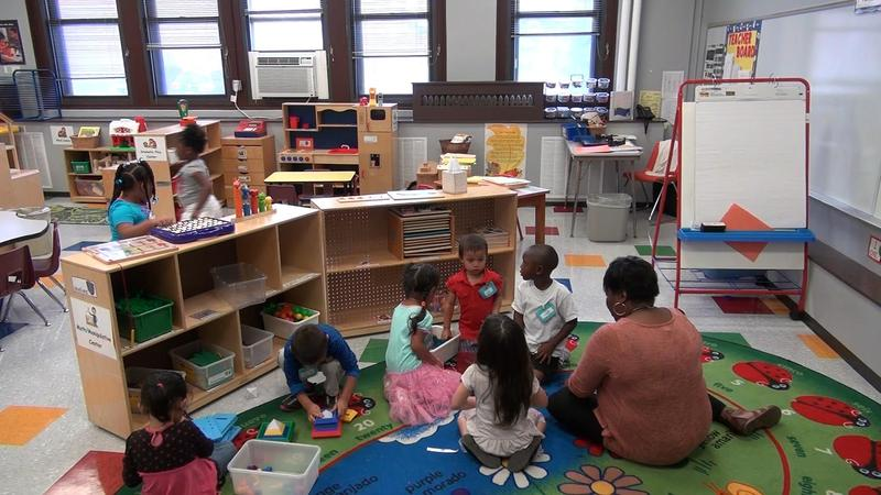 Head Start students at Woodland Early Learning Center in Kansas City, Missouri, played in their classroom during a recent afternoon.