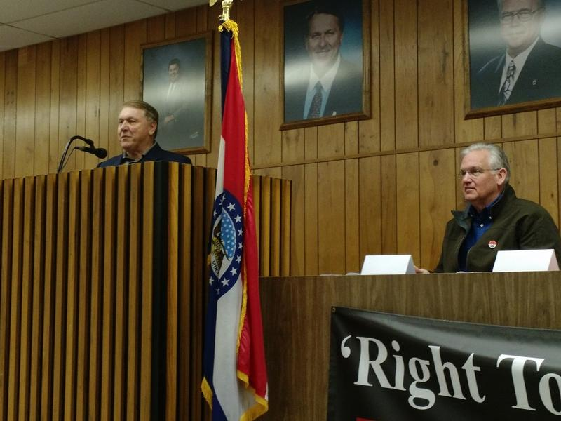 International Brotherhood of Teamsters President James P. Hoffa (left) and Missouri Gov. Jay Nixon (right) both spoke to union members Saturday. The Missouri Legislature could override Nixon's veto of a so-called 'right-to-work' bill.