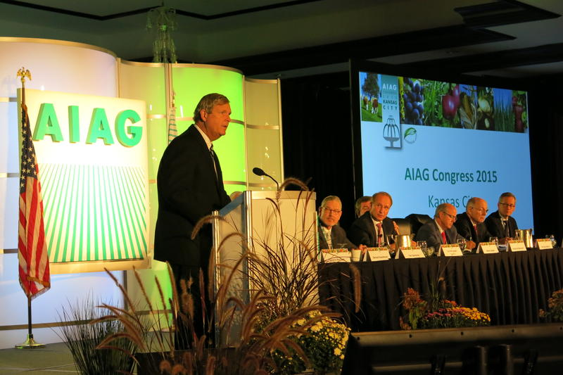 U.S. Secretary of Agriculture Tom Vilsack addresses a global gathering of crop insurers in Kansas City, Missouri.