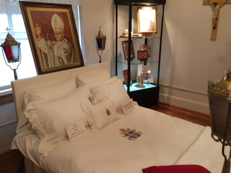 A Kansas City, Kansas, museum remembers Pope John Paul II with a display of his custom airplane bed.