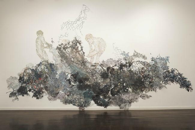 Fidencio Martinez-Perez's 'I.C.E./El Hielo' fills much of a wall in the Kansas City Artists Coalition's Charno gallery.