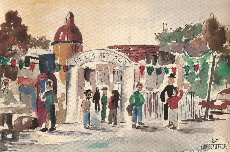 This watercolor painting depicts the Plaza Art Fair in 1959. The annual fair started in the 1930s as a get-together for local artists. It has grown into a large community event.