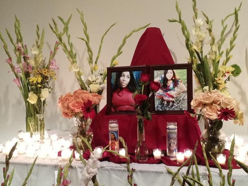 Photos of Tamara Dominguez, a transgender Latina woman, were on display at an August memorial service. Dominguez was brutally killed a few weeks ago.