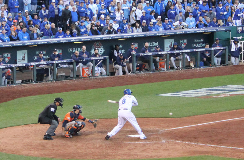 Back in 2015, Mike Moustakas bats for the Kansas City Royals. He was traded to the Milwaukee Brewers earlier this season.