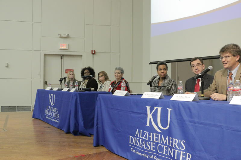 Dr. Jeffrey Burns, far right, of the University of Kansas Alzheimer's Disease Center,  spoke at a forum Monday. Seated with Burns were Dr. Russell Swerdlow, director of the center, and Linda Elam, of the Department of Health and Human Services.