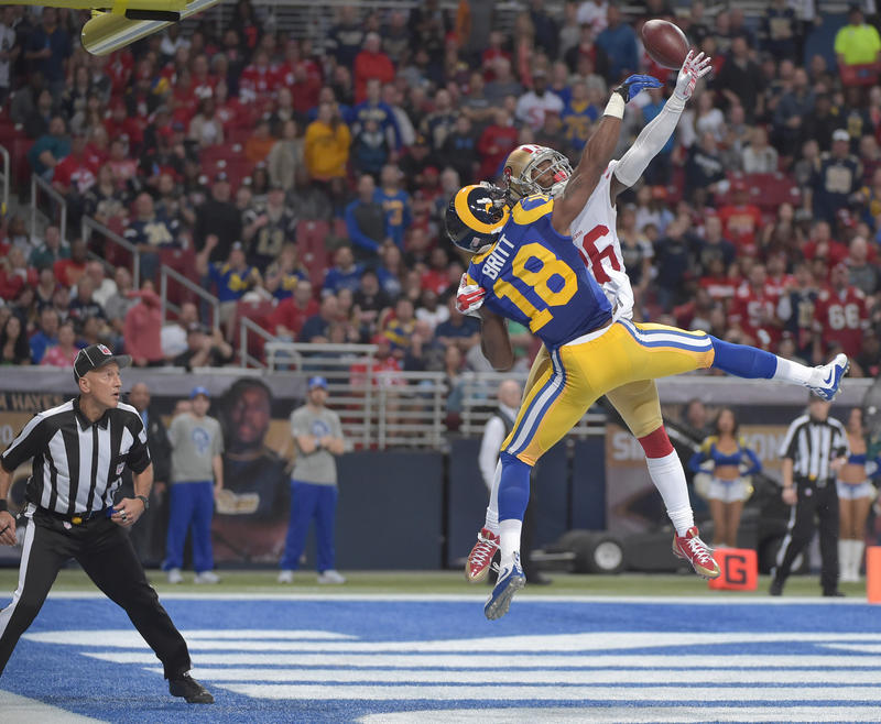 San Francisco 49ers cornerback Tramaine Brock breaks up a pass intended for St. Louis Rams wide receiver Kenny Britt during the first half of their Nov. 1, 2015, game at the Edward Jones Dome.