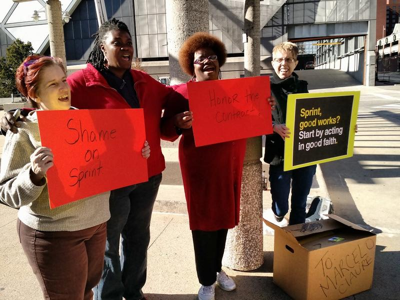 Several residents and a representative for Mobile Citizen delivered a petition to Sprint Thursday, protesting Sprint's shutdown of its WiMax service.