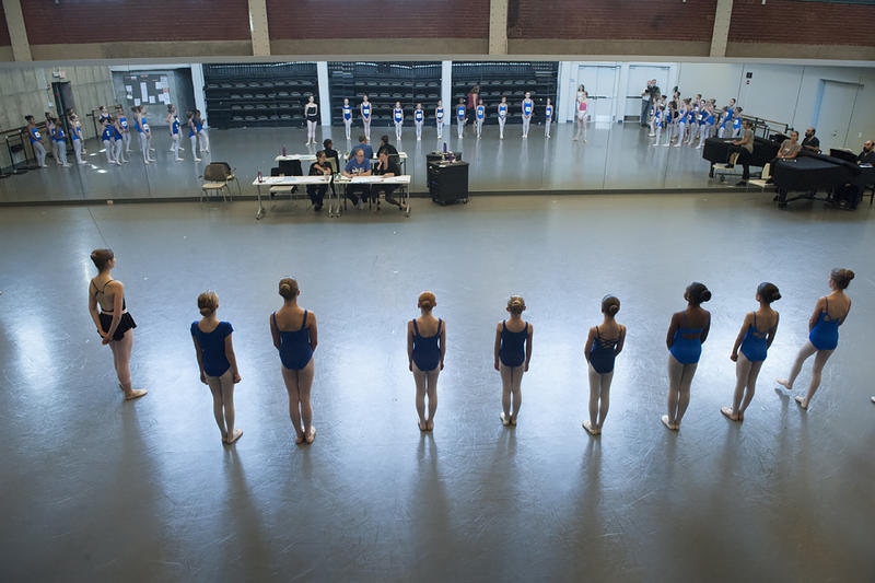 Young dancers await instructions during auditions at the Todd Bolender Center for Dance and Creativity.