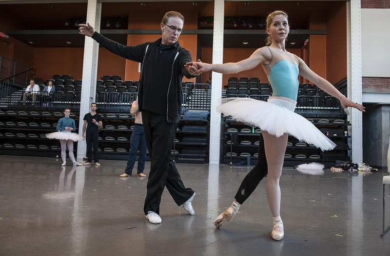 Carney leads dancer Molly Wagner through her steps in Act II.