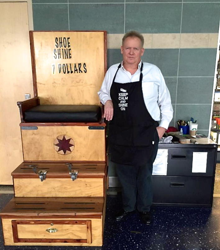 Shoe Shine Bench Part - 26: Before Becoming A Shoe Shiner, Rick Evans Worked In Sales. After Getting  Laid Off, He Wanted To Avoid Unemployment And Started His Own Business.