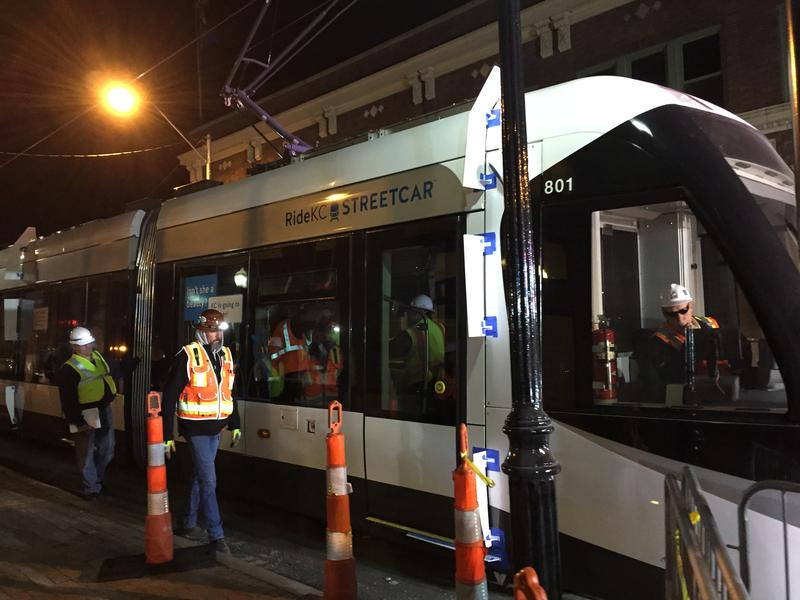 Streetcar constructers and city officials were testing the car for clearance and ability to maneuver curves.