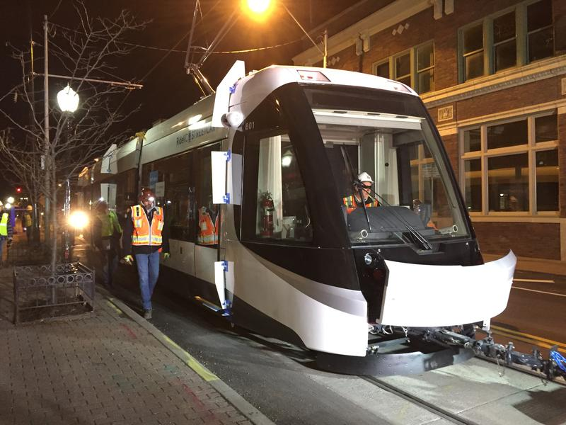 A massive tow truck pulled the new Kansas City Streetcar through the River Market Friday morning.