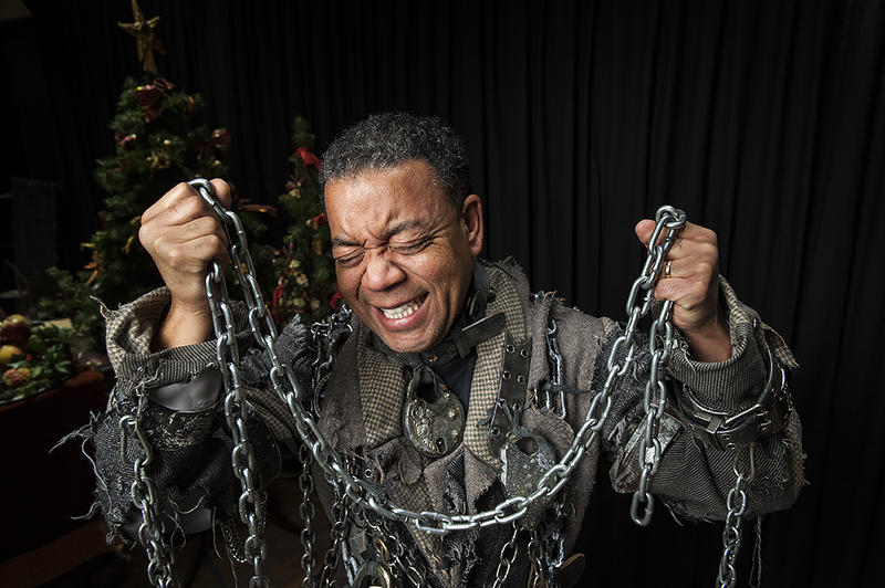 Actor Walter Coppage wearing part of his Marley costume at a rehearsal for Kansas City Repertory Theatre's 'A Christmas Carol.'