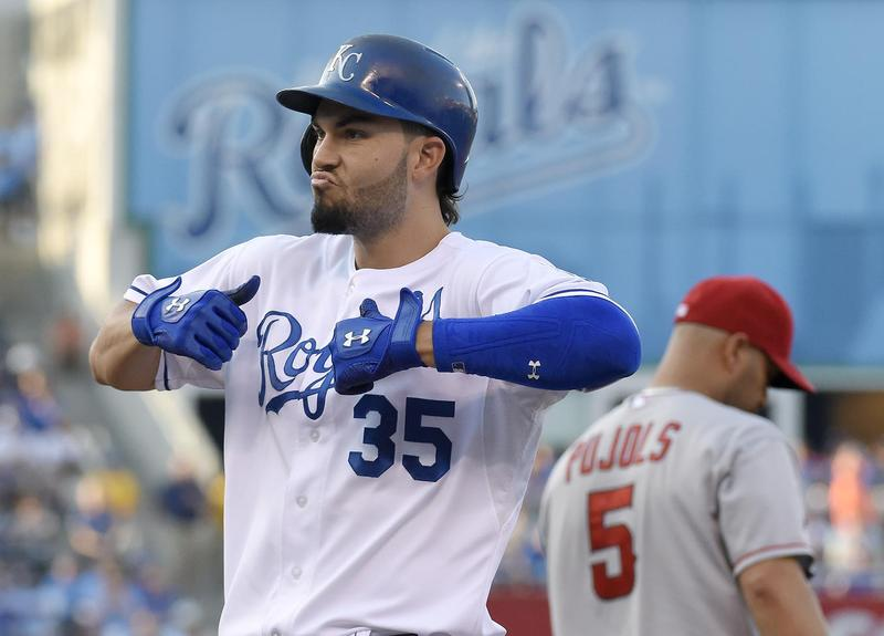 Kansas City Royals' Eric Hosmer celebrates his RBI single to score Jarrod Dyson in the second inning during an August 15, 2015, baseball game against the Los Angeles Angels at Kauffman Stadium in Kansas City, Missouri.