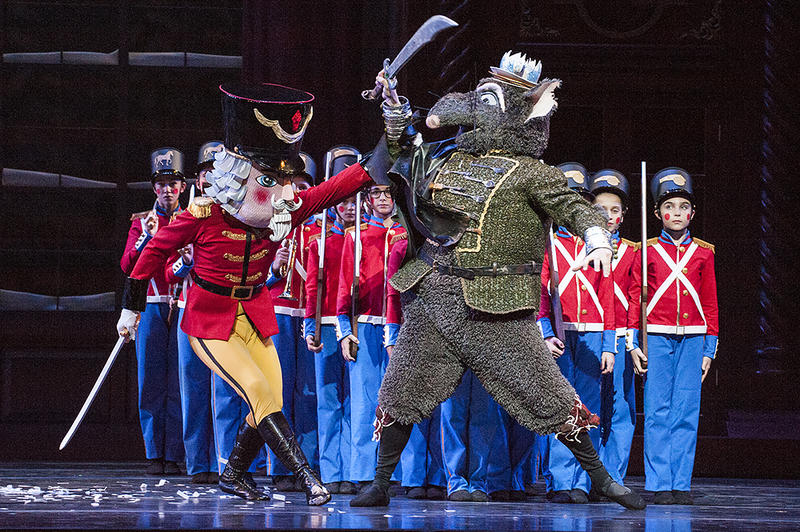 At the height of the battle, the transformed Nutcracker Prince (Martin) confronts the Mouse King (Geoffrey Kropp).
