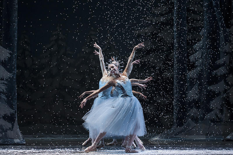 Snowflakes swarm around the dancers in 'The Kingdom of the Snow.'