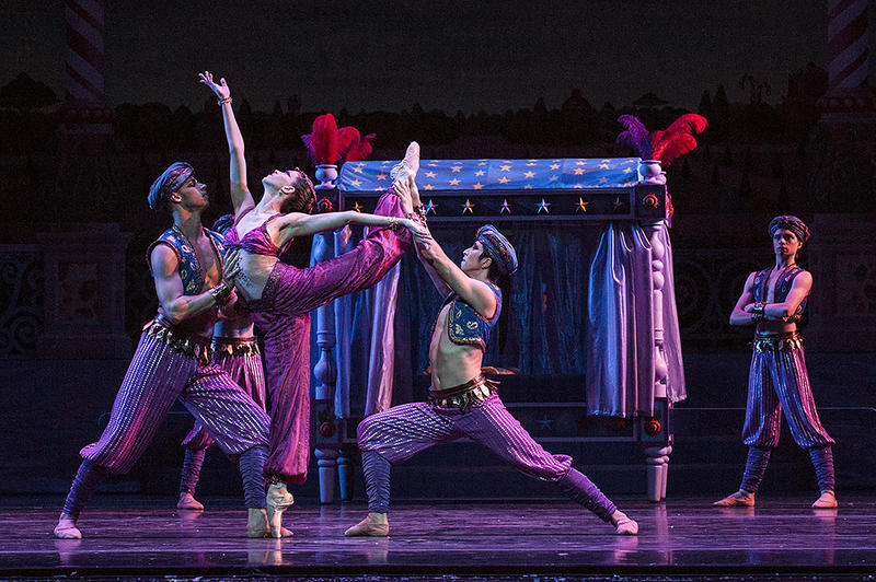 Thom Panto (from left), Angelina Sansone and Liang Fu perform a sensual Arabian dance.