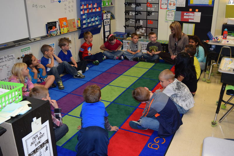 First-graders in Lori Williams' class at Alexander Procter Elementary School take part in their morning community circle.