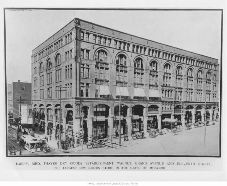 Emery, Bird, Thayer & Company dry goods store, pictured in 1901.