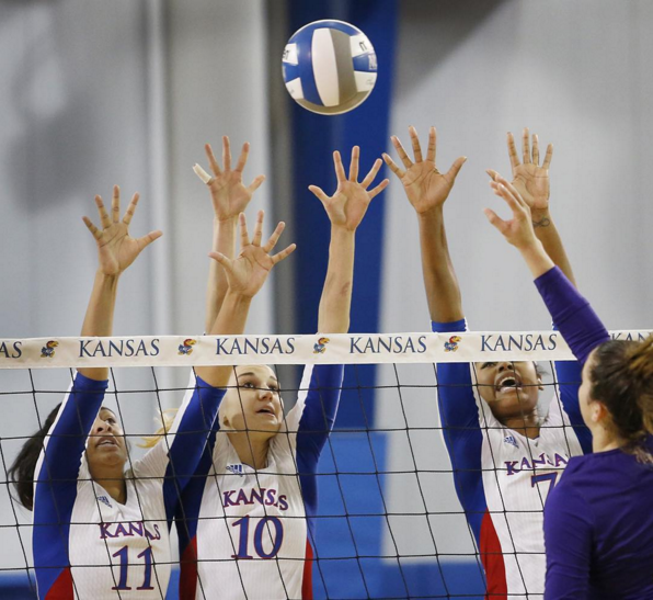 The KU volleyball team defeated Furman in the first round of the NCAA tournament
