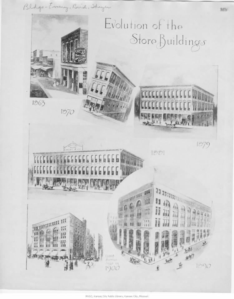 This drawing traces the history of the store, and its locations and name changes, from 1863 to 1900.