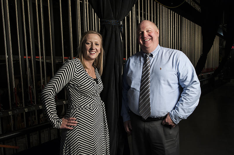 Caroline Gibel, director of indoor programming, and Richard Baker, president and CEO, stand in the wings of Starlight's indoor performance space.