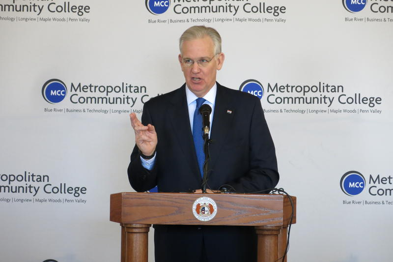Missouri Gov. Jay Nixon makes his pitch for increased education funding at Metropolitan Community College-Penn Valley.