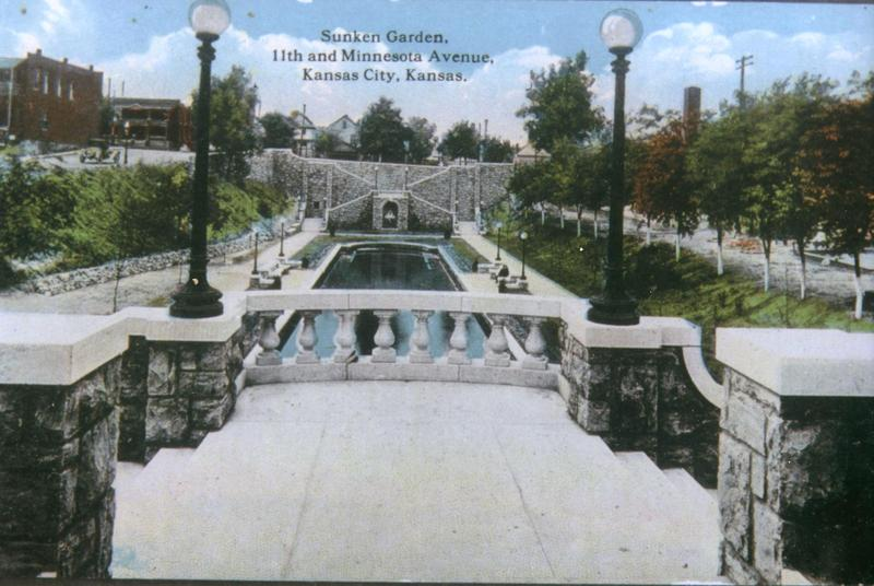 A vintage postcard shows an elegant sunken garden built near downtown Kansas City, Kansas, in the early 1900s.