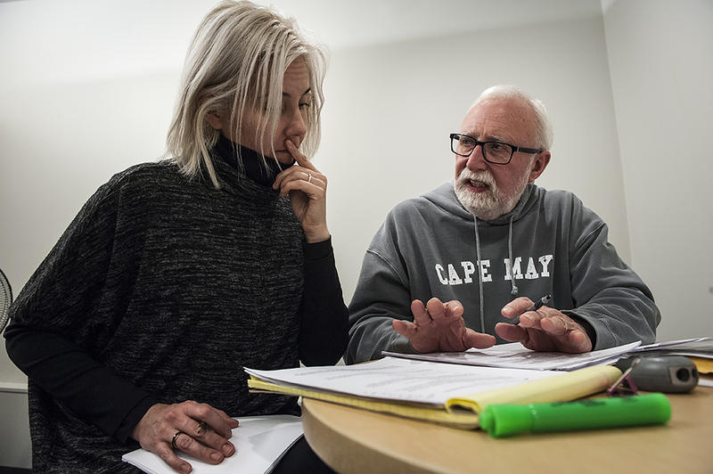 Jennifer Welch (at left) is the co-creator and director of Story Works, a production of the Center for Investigative Reporting. Welch and investigative reporter Mike McGraw fact check an early version of the script.