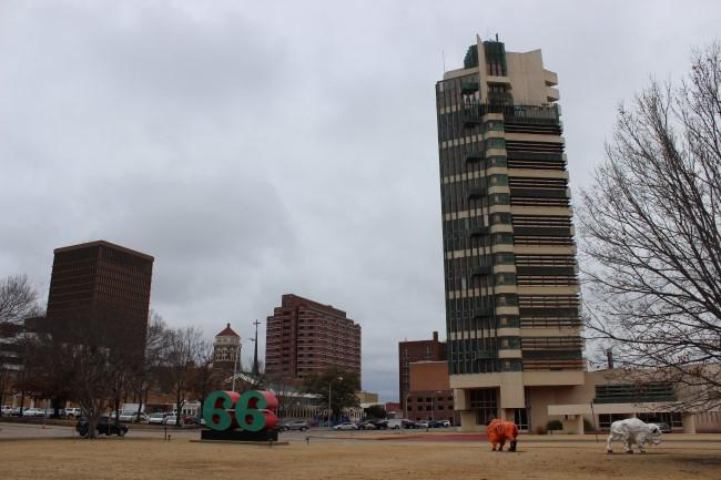Price Tower in Bartlesville, Oklahoma, was designed by Frank Lloyd Wright.