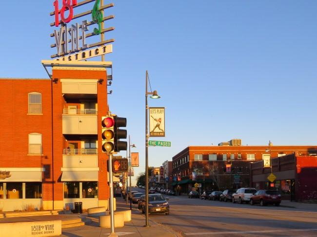 The corner of 18th and Paseo, entrance to the 18th and Vine Historic District.