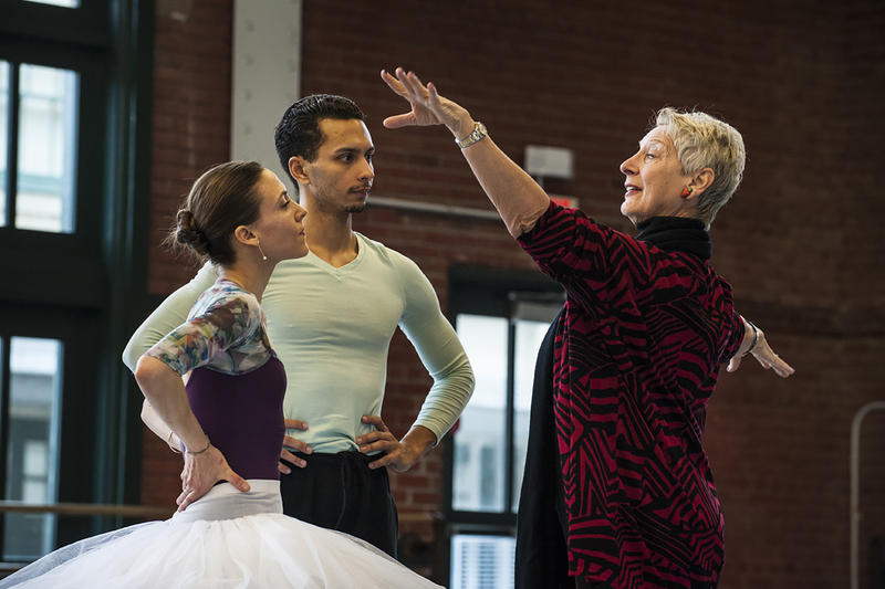 Dancers Tempe Ostergren and Lamin Pereira dos Santos listen to feedback from former prima ballerina Cynthia Gregory during rehearsal.