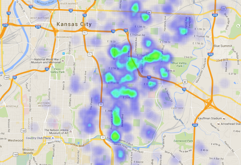 This heat map shows known dangerous houses throughout Kansas City. The City Manager's proposed 2016-2017 budget would eliminate more than 800 of them over two years.