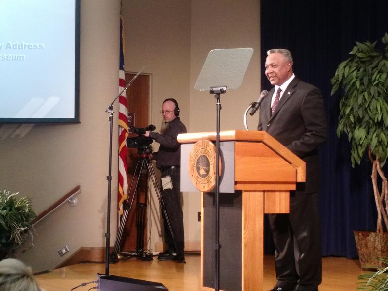 Jackson County Executive Frank White gave his first State of the County address Friday, calling for higher wages, a bigger emphasis on parks and steady leadership.